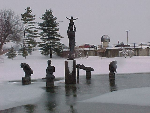 Statues in the pond in winter