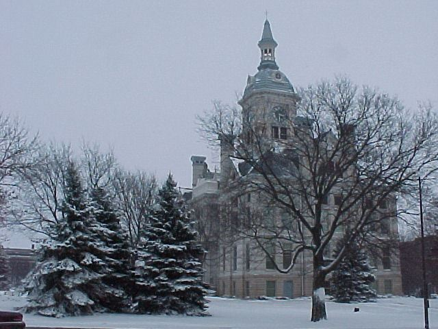 Courthouse during snowfall