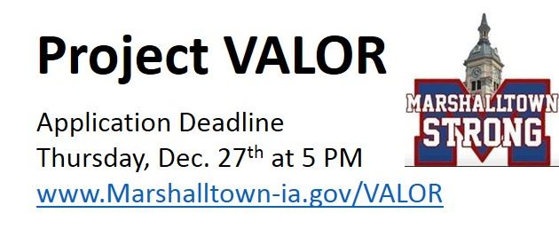 VALOR DEADLINE Dec. 27