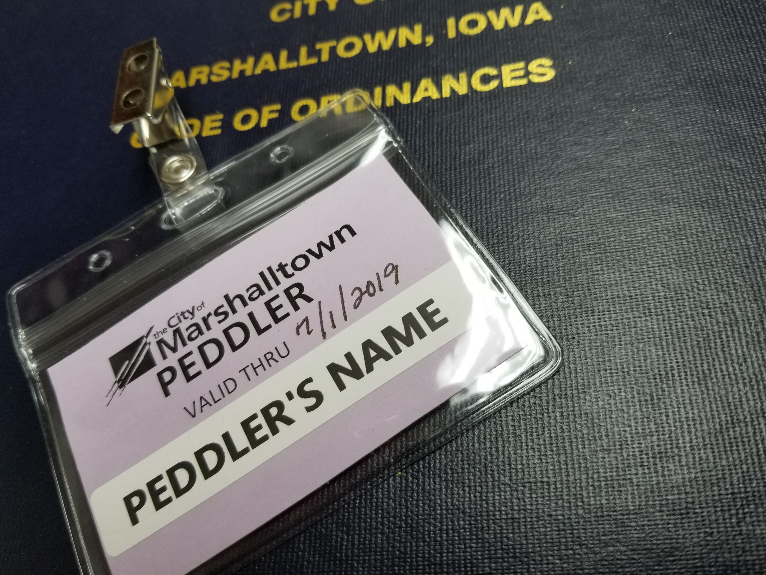 PEDDLER IDENTIFICATION BADGE
