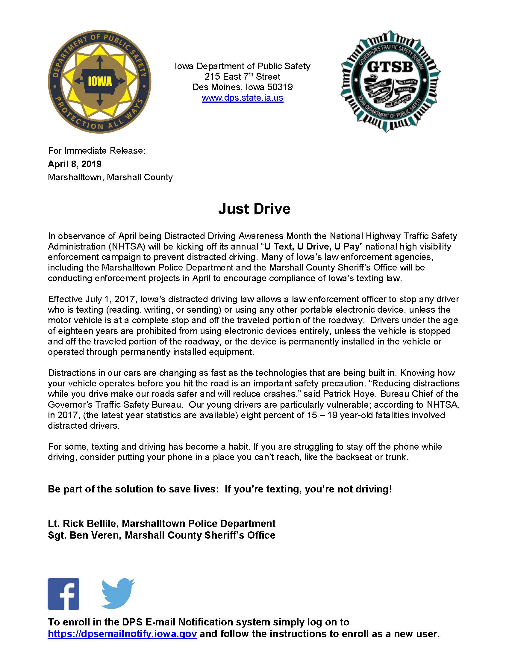 Media Release-Distracted Driving